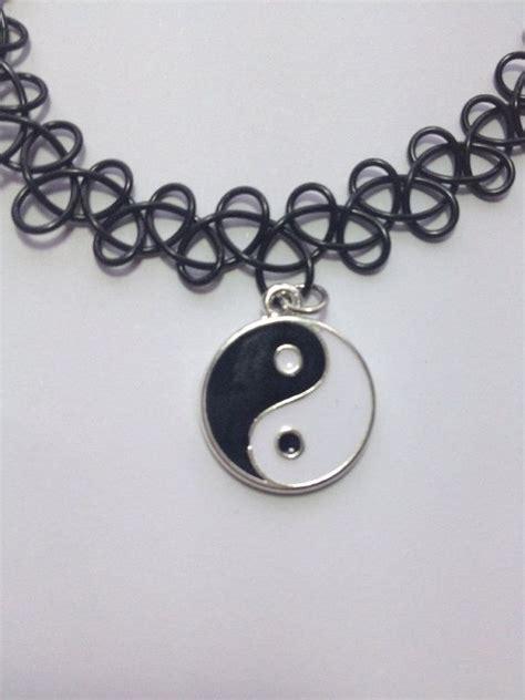 black tattoo choker necklace yin yang black choker necklace