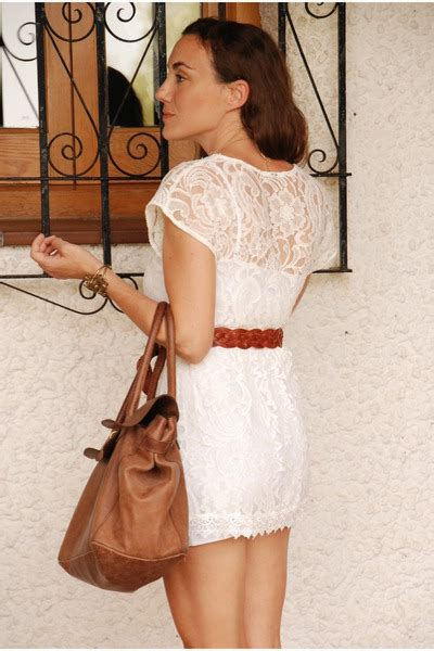 white lace dress with brown belt flab dresses trend