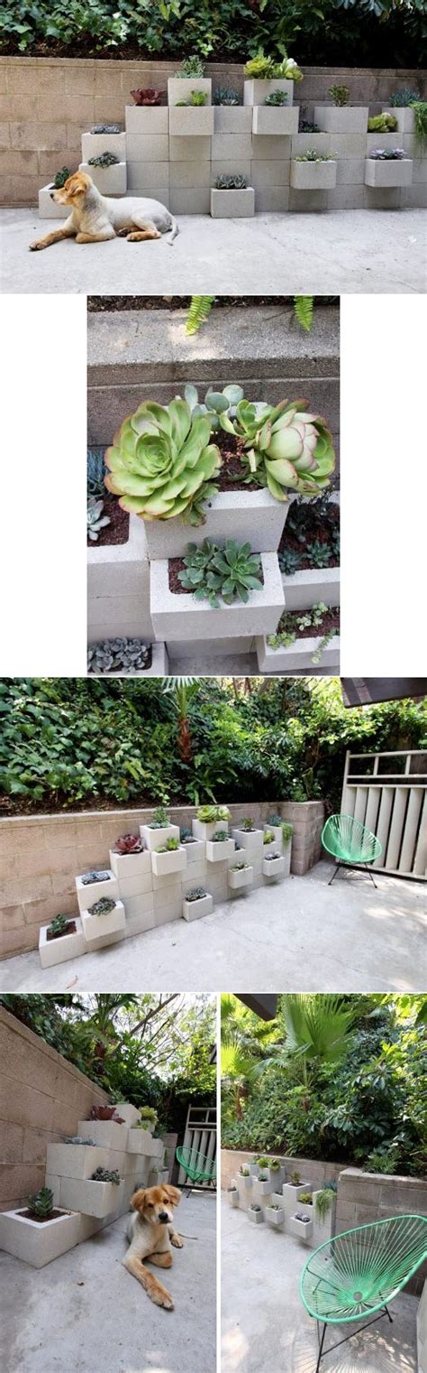 How To Make Vertical Garden Planters How To Build Modern Diy Vertical Outdoor Cinder Garden