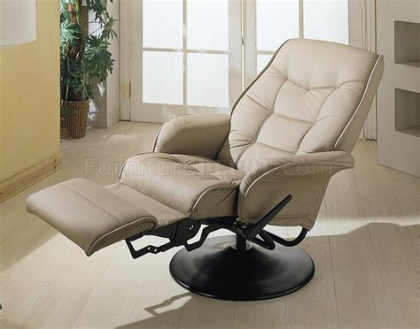modern swivel recliner beige leatherette cusion contemporary elegant swivel recliner