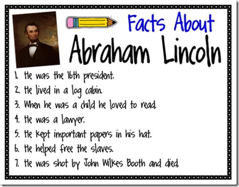 top 10 facts about abraham lincoln top 10 lists mrs bumgardner s 1st grade class president s day