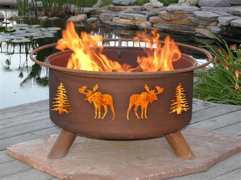Firepit Wood Patina Products Moose And Tree Outdoor Wood Burning Pit F108