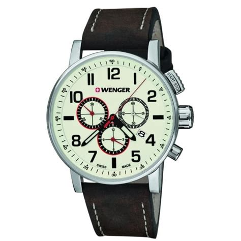 Swiss Army Leather Date Brown wenger attitude chrono mens swiss army brown