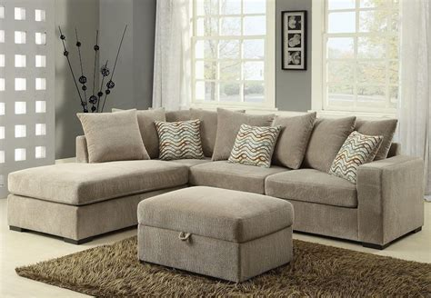 Chenille Sectional Sofa Modern Reversible Sectional Sofa With Chaise Chenille Fabric Taupe Living Room Ebay