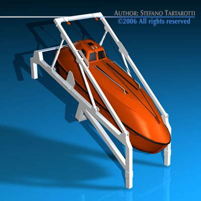 free fall boats life boat free fall r 3d model obj 3ds c4d dxf