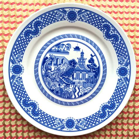 Porcelain Plate calamityware disastrous scenarios on traditional blue