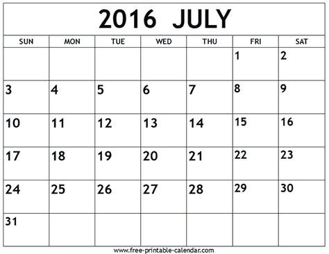 printable calendar 2016 july 2016 july calendar printable free calendar template 2018
