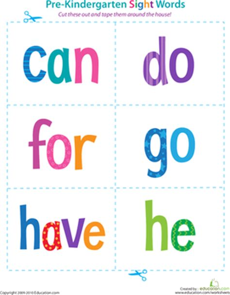 printable reading flashcards for toddlers pre kindergarten sight words can to he preschool sight