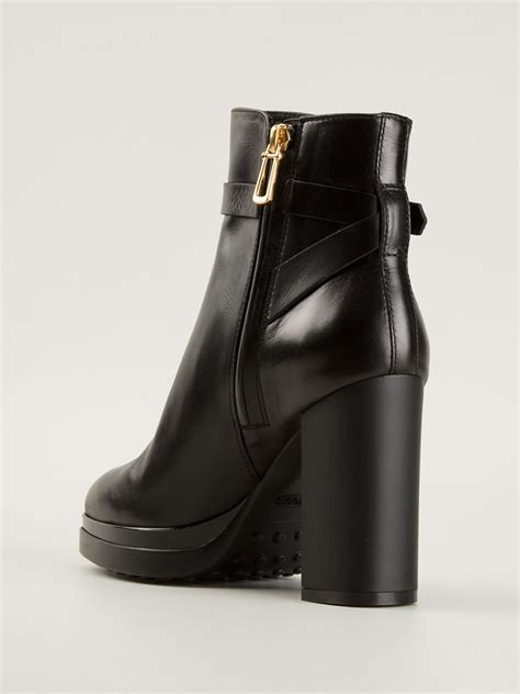 tods boots tod s platform ankle boots in black lyst