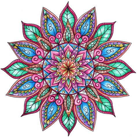 finished colouring floral mandala by welshpixie on