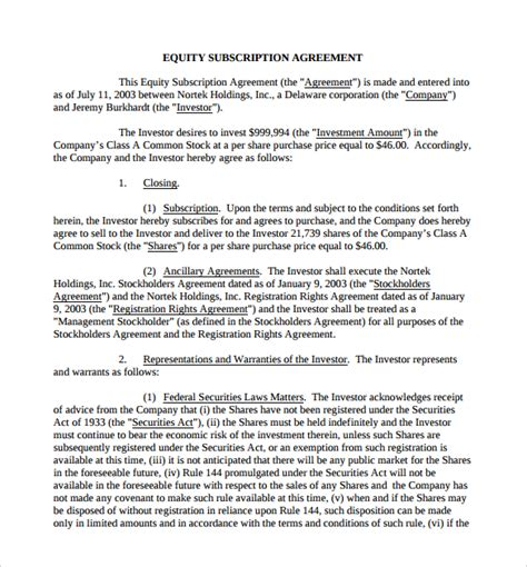 equity agreement template subscription agreement 11 free sles exles format