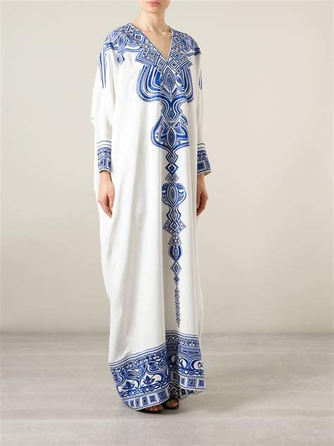 Longdress Kaftan Anesa lyst emilio pucci embroidered silk kaftan dress in white