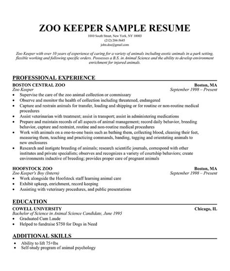 zoo keeper sle resume a zookeepers life pinterest