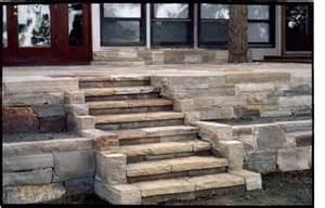 laid flagstone patio and steps