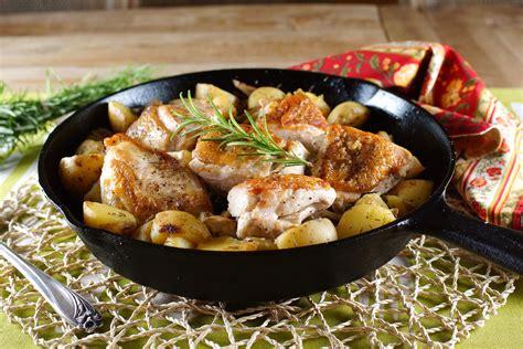 crisp skinned chicken with rosemary potatoes recipe dishmaps