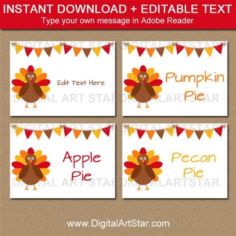 editable place card template thanksgiving thanksgiving food signs place cards labels digital