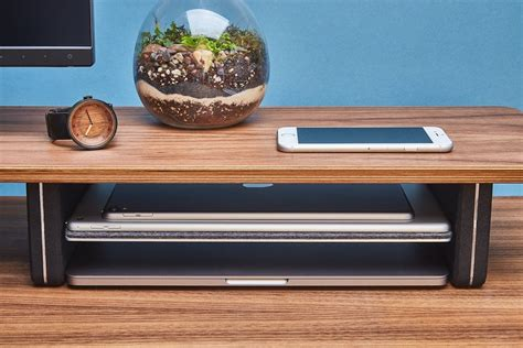 grovemade wood desk shelf system 187 gadget flow
