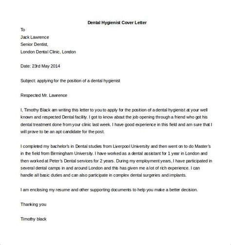 cover letter template dentist free cover letter template 59 free word pdf documents