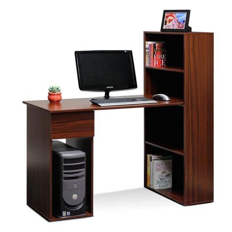 Integrated Computer Desk Furinno Fnal 11057 Boyate Integrated Computer Desk Bookshelf Walnut My