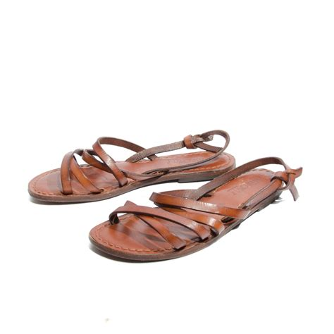 brown sandals s brown leather sandals strappy slingback flats by