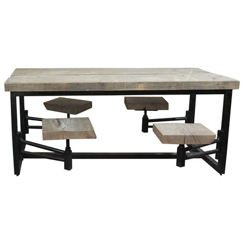 swing table swing out seat industrial base table at 1stdibs