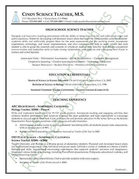 Science Resume Exles by Science Resume Sle Page1 Teach Resumes Resume And Search