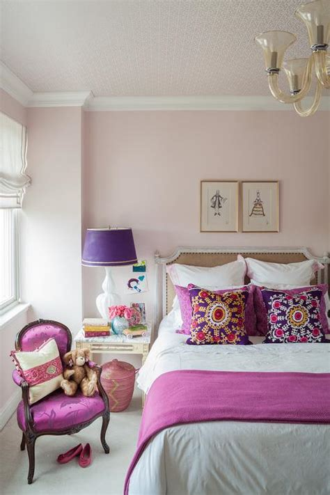 purple and pink girls bedroom pink and purple girls room with french burlap nailhead bed contemporary bedroom