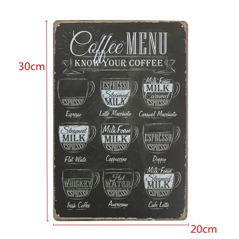 Poster Dinding Dekorasi Bar Coffee Cafe coffee menu vintage tin sign bar pub shop home wall decor retro metal poster ebay
