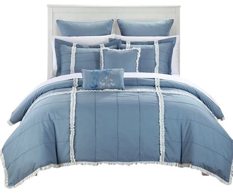 shabby chic bed in a bag legend blue white king 11 quilted comforter bed in