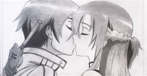 imagenes para dibujar de kirito dibujos anime manga kirito y asuna beso 3
