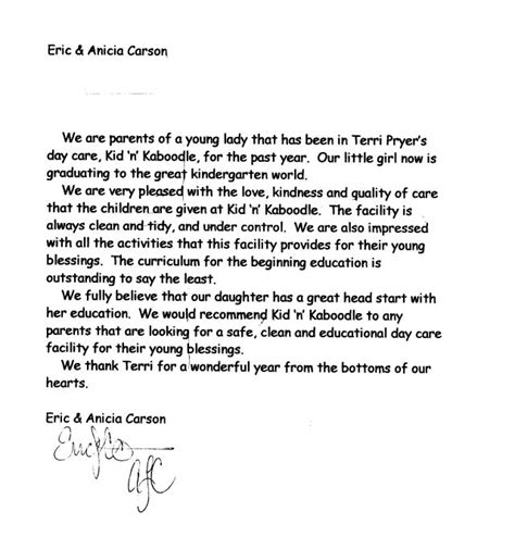 Child Care Letter Template Letter Of Recommendation For Child Care Best Template