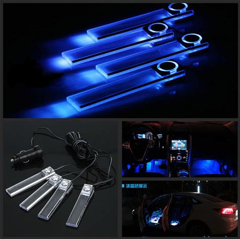 4 X 3led Car Charge Interior Accessories Atmosphere L Floor Decorat dc 12v 4x blue led car charge glow interior floor decorative atmosphere lights ebay