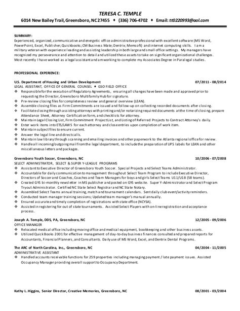 Resume Learner Adaptable Resume Terry Temple Admin Assistant 2015 3 26