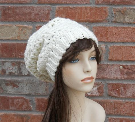 items similar to slouchy womens womens slouchy beanie ivory hat crochet hat winter hats for