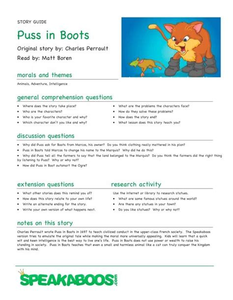 themes for reading comprehension 11 best images about puss in boots on pinterest crafts