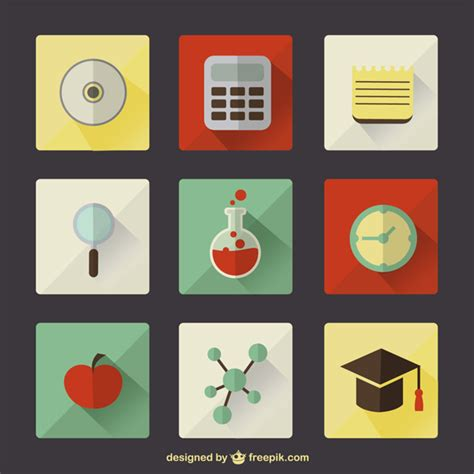 Lebenslauf Akademiker Schulbildung Vektor Symbole Schulbildung