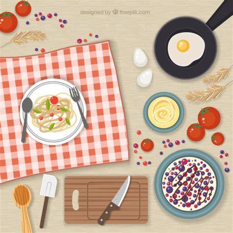 elementos de cocina y comida descargar vectores gratis