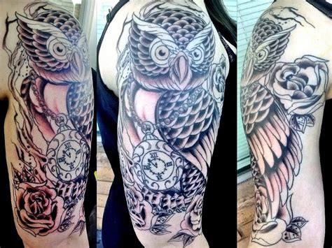 owl tattoo half sleeve owl tattoo half sleeve in progres by iluv2rock99 on deviantart
