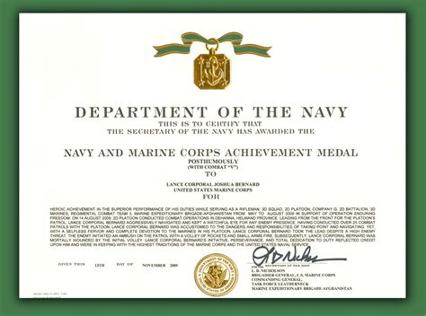 certificate of commendation usmc template gallery of navy commendation medal certificate