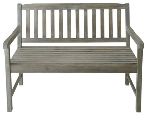 Grey Wood Garden Bench Seat Saint Malo Traditional