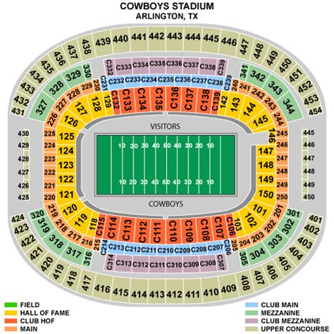 texas stadium seat map dallas cowboys seating chart at cowboys stadium