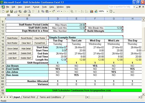Excel Employee Shift Scheduling Shift Roster Template
