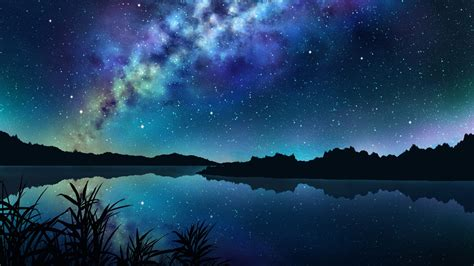 anime landscape android wallpaper download 2560x1440 anime landscape river night stars
