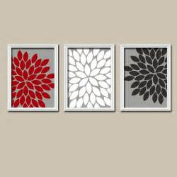 bathroom black red white: red white black grey charcoal flower burst gerbera daisies artwork set