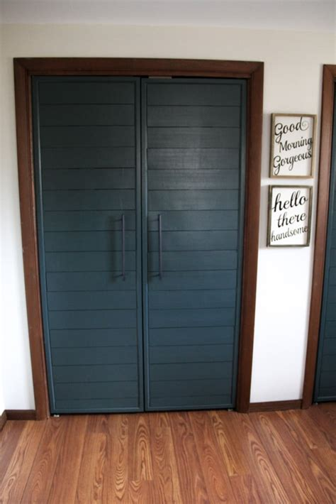 diy closet door bi fold to faux shiplap closet doors bright green door