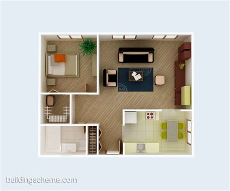 3d building scheme and floor plans ideas for house