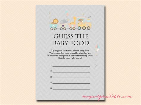 baby food guessing template animal baby shower set magical printable