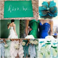 Fresh emerald green and blue fall wedding colors