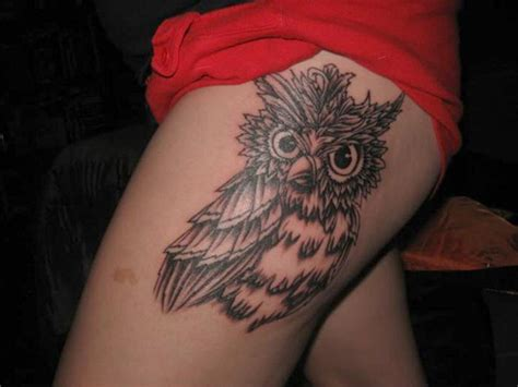 owl thigh tattoos unique owl tattoos for designs piercing