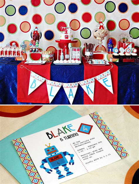 free printable robot party decorations modern robot birthday party free printables hostess